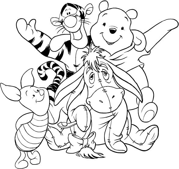 Desenhos De Ursinho Pooh E Seus Amigos Para Colorir