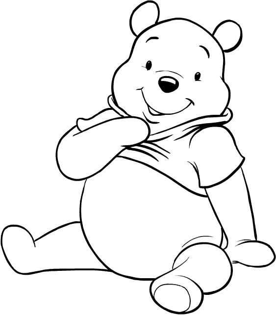Desenhos De Ursinho Pooh Sentado Para Colorir