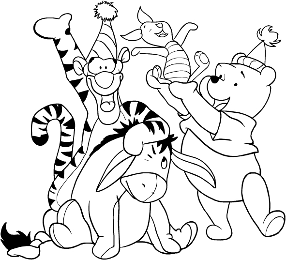 Desenhos De Ursinho Pooh E Seus Amigos Celebrating Para Colorir
