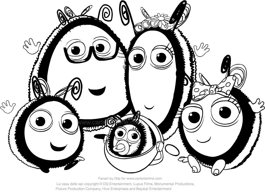 Desenho de A Colmeia Feliz-The family of Buzzbee para impress oe colorir
