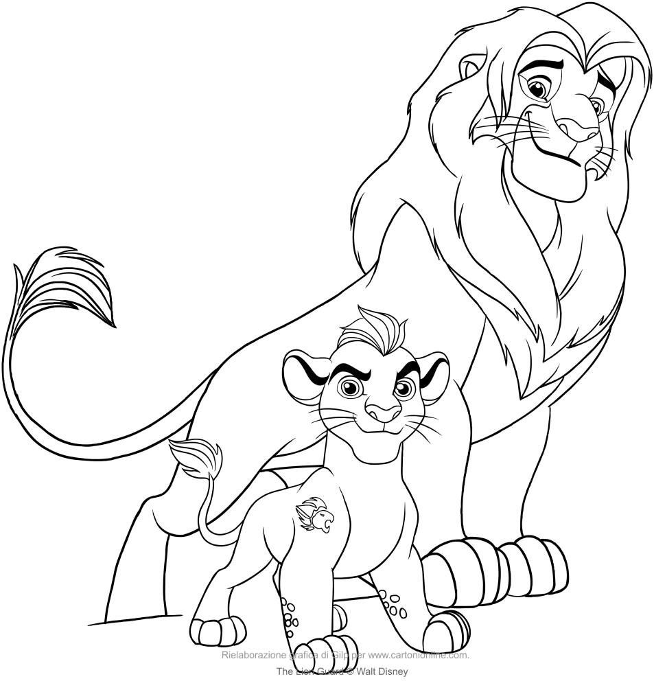 Desenho De Kion E Simba (A Guarda Do Leão) Para Colorir