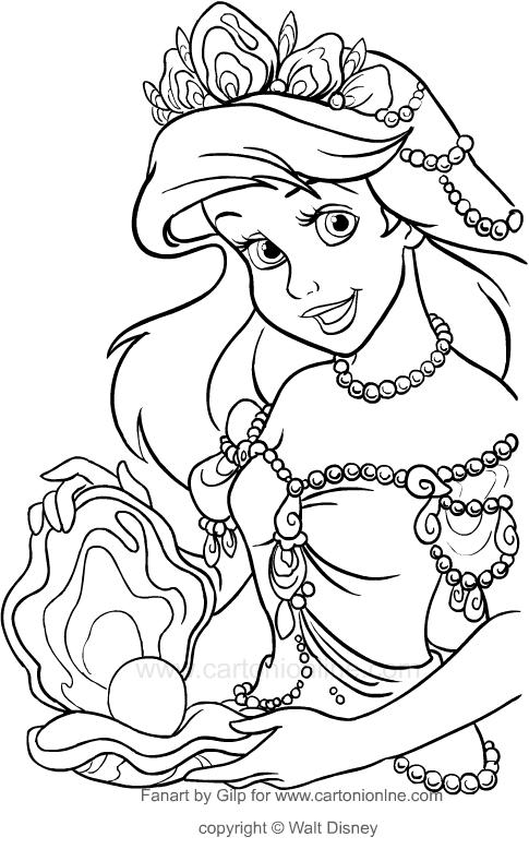 Desenho De Ariel Com A Perola Gigante A Pequena Sereia Para Colorir