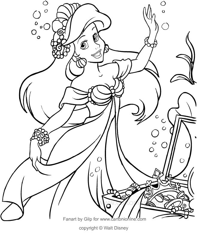 Desenho De Ariel Com Os Tesouros Do Mar A Pequena Sereia Para