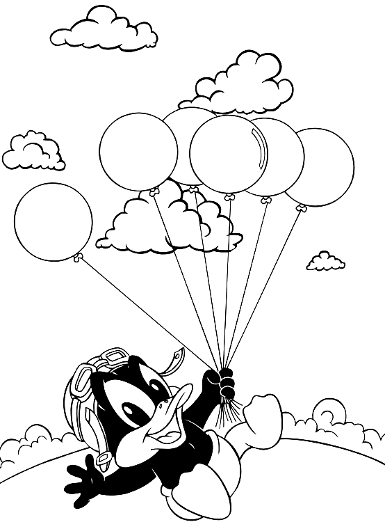 Desenho De Baby Patolino Voando Com Os Baloes Baby Looney Tunes