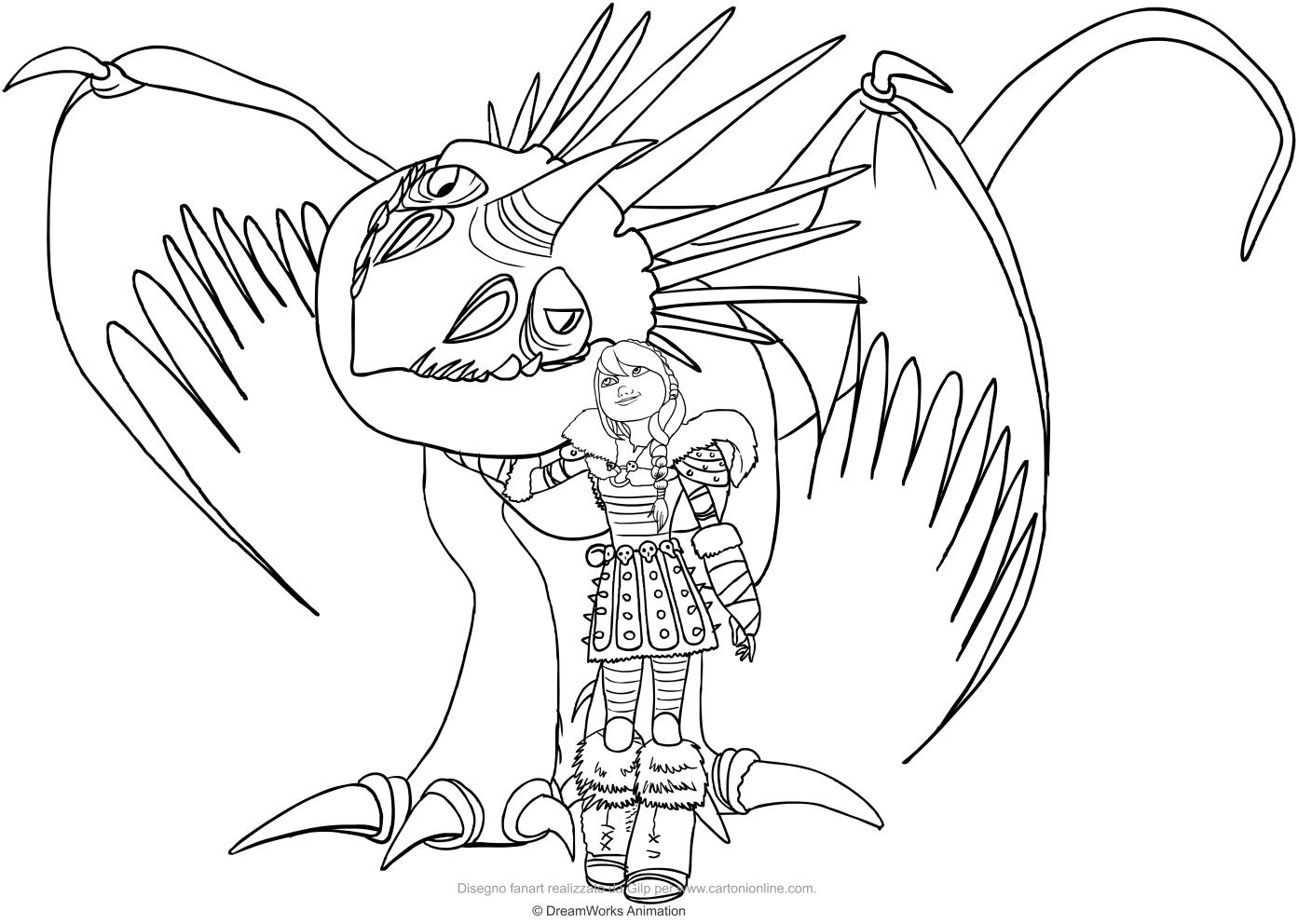 Desenho De Astrid E Nadder Mortífero O Drago Para Colorir