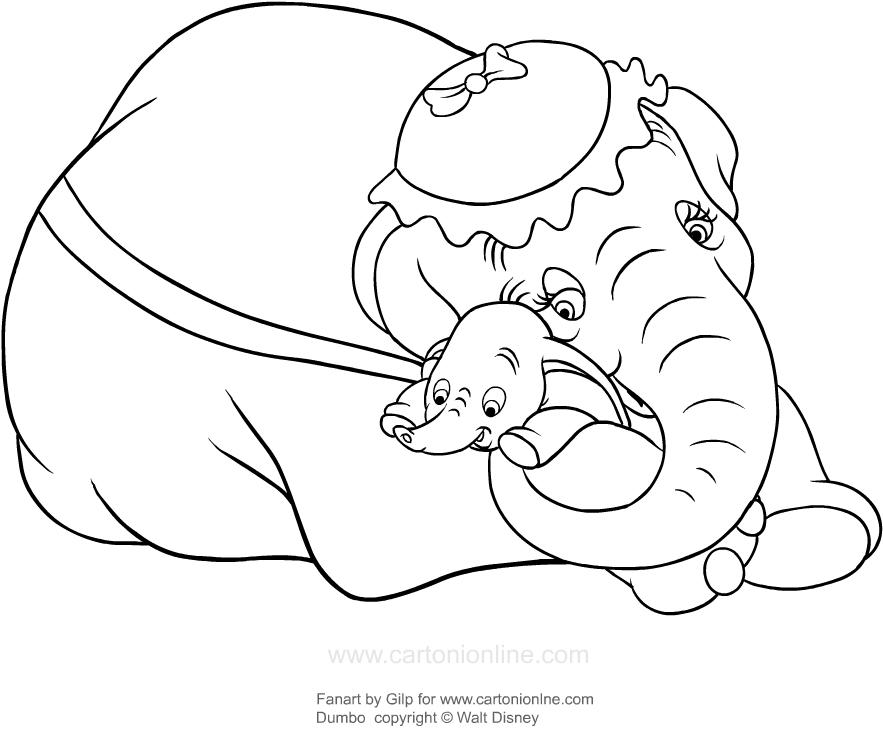 Desenho De Dumbo Abracado Pela Mae Para Colorir