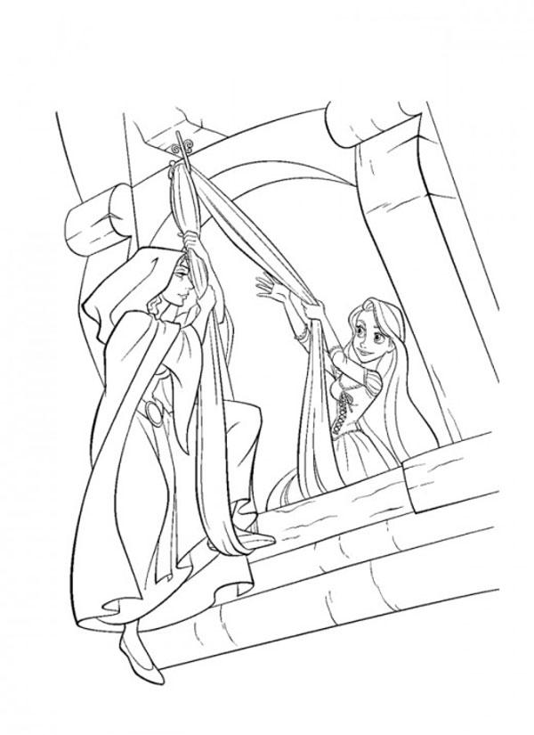 Desenho De Rapunzel Baja A Gothel De La Torre Com Su Cabello Para