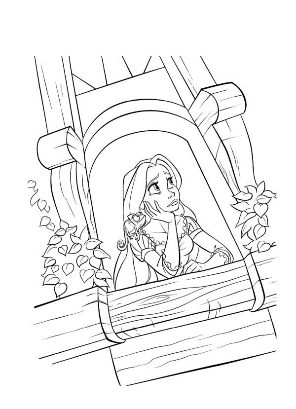 Desenho De Rapunzel Na Balcon Para Colorir