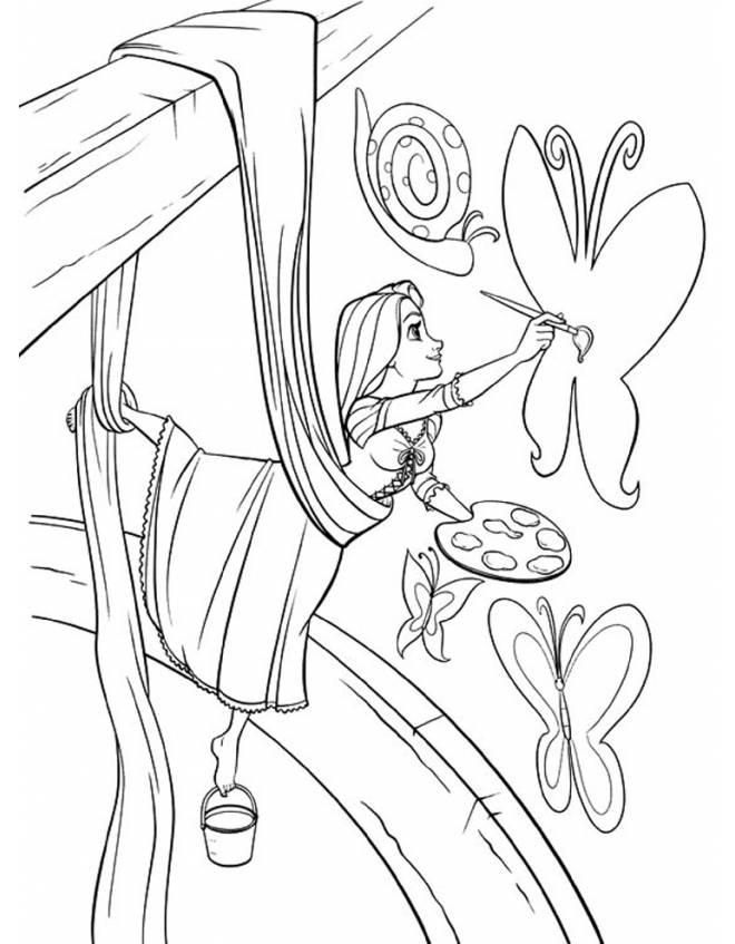 Desenho De Rapunzel Pintando As Paredes Da Torre Para Colorir