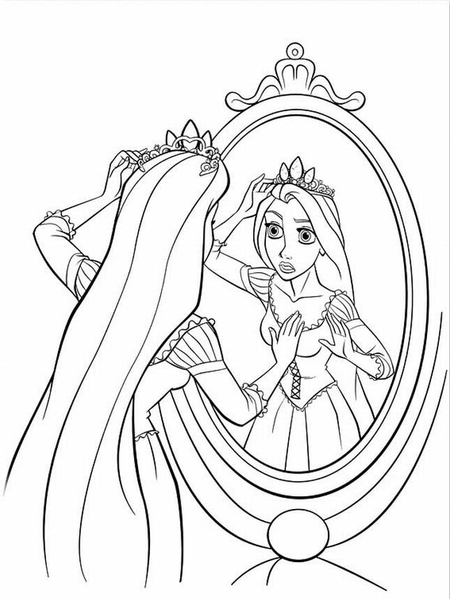 Desenho De Rapunzel Que Se Reflete Com A Coroa Para Colorir