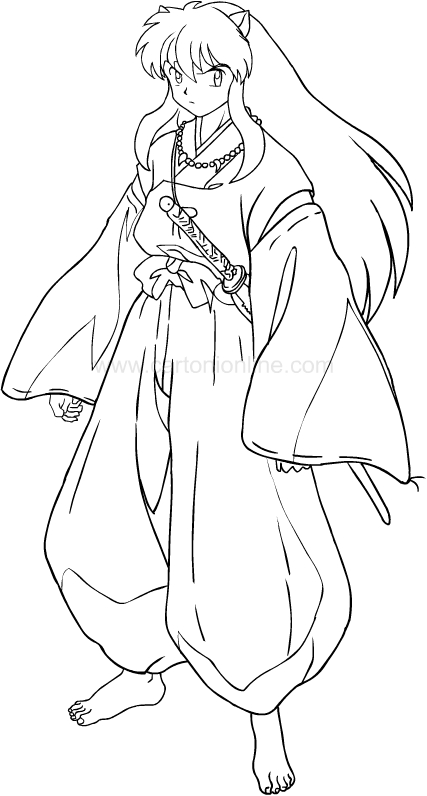 Desenho de Inuyasha para impress oe colorir