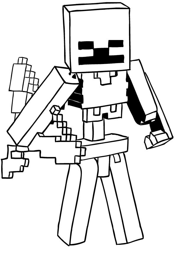 Desenhos De Scheletro Di Minecraft Para Colorir
