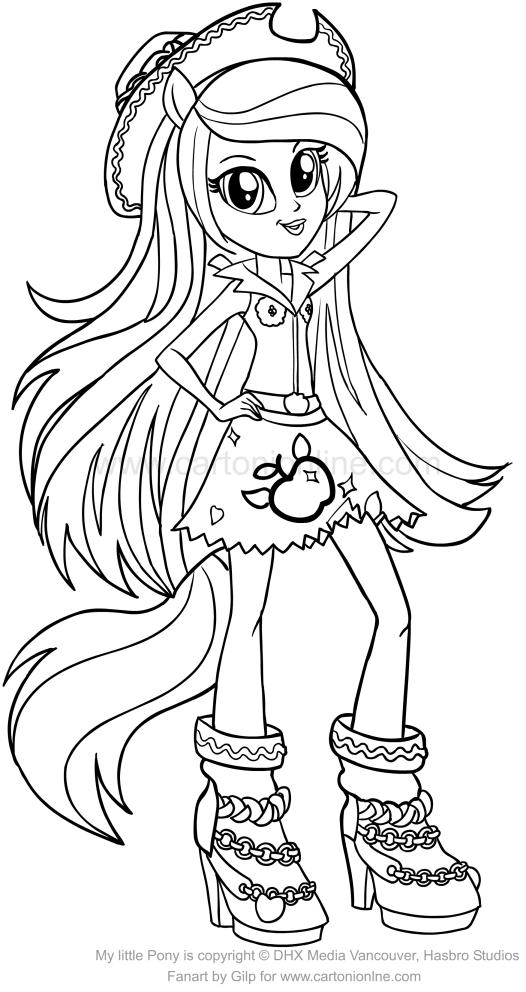 Desenho De Applejack Equestria Girls Dos My Little Pony Para Colorir