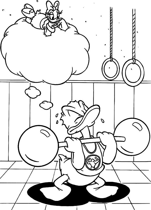 Desenho De Pato Donald Halterofilista Para Colorir
