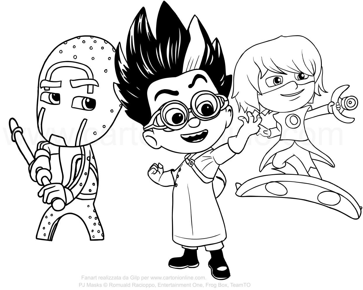 desenho dos super vilões pj masks para colorir