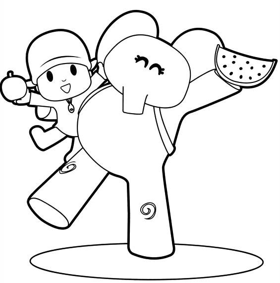 desenho de pocoyo e elly com maçã e melancia para colorir