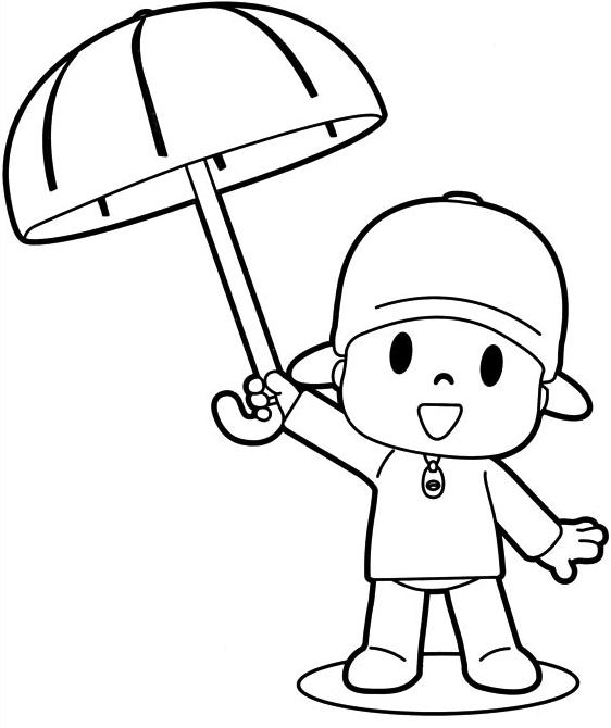 Desenho De Pocoyo Com O Guarda Chuva Para Colorir