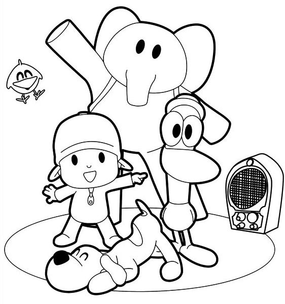Desenho De Pocoyo Pato Elly E Loula Dancam Para Colorir