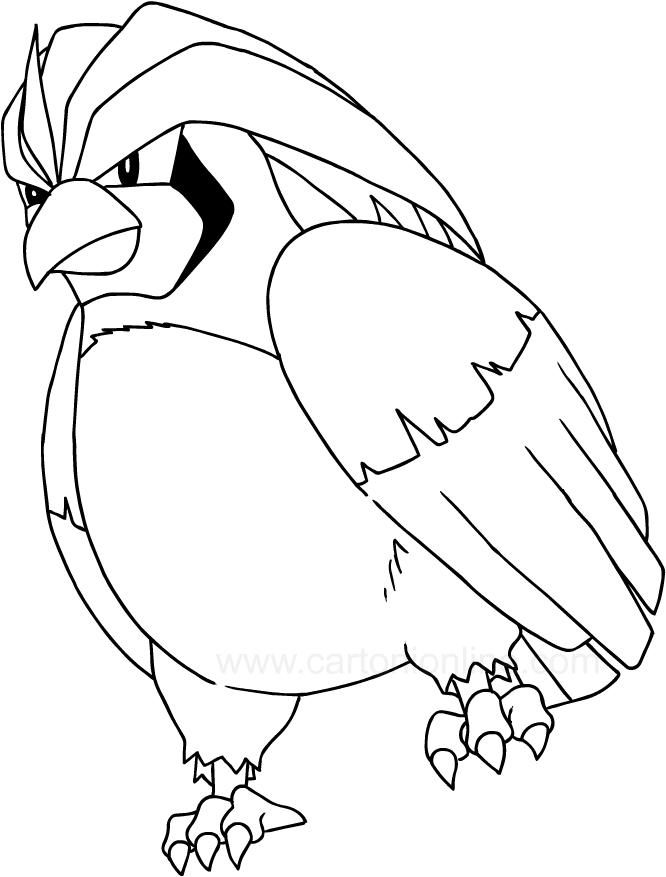 Desenho De Pidgeot Dos Pokemon Para Colorir