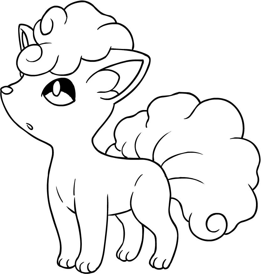 desenho de alolan vulpix dos pokémon sol e luna para colorir