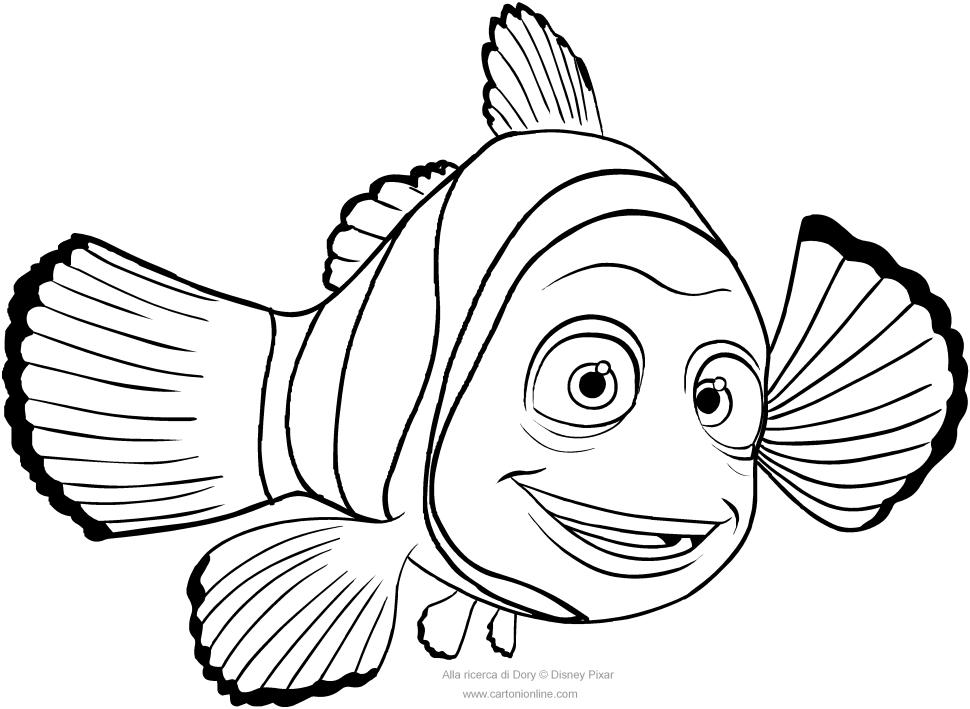 Desenho De Marlin Procurando Dory Para Colorir