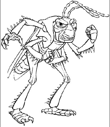 desenho de hopper o gafanhoto uma vida de insecto para colorir