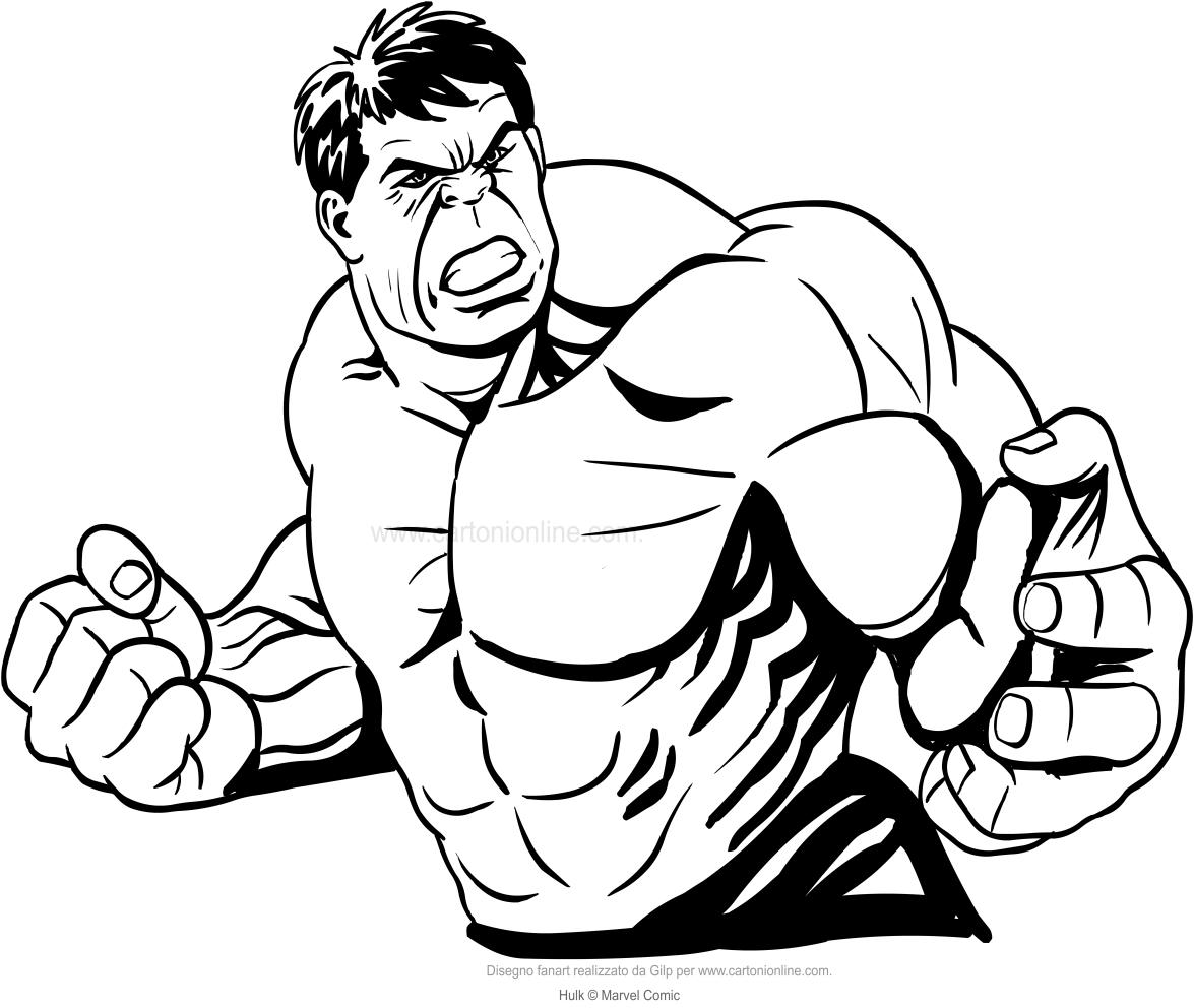 Coloriage de Hulk demi-longueur