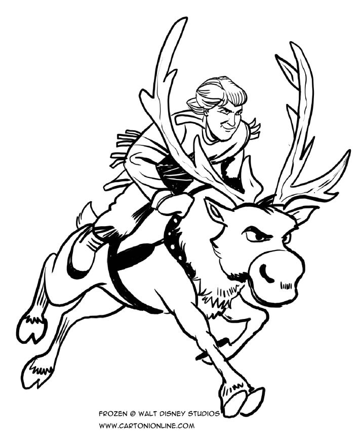 레 coloriages de Kristoff galopant sur le rene, 스벤