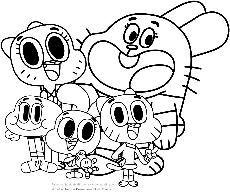 Les coloriages de famille Watterson (검볼의 십자가의 세계)   imprimer et colorier
