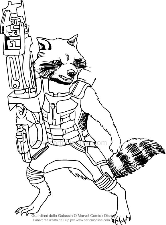 Coloriage De Rocket Raccoon Les Gardiens De La Galaxie