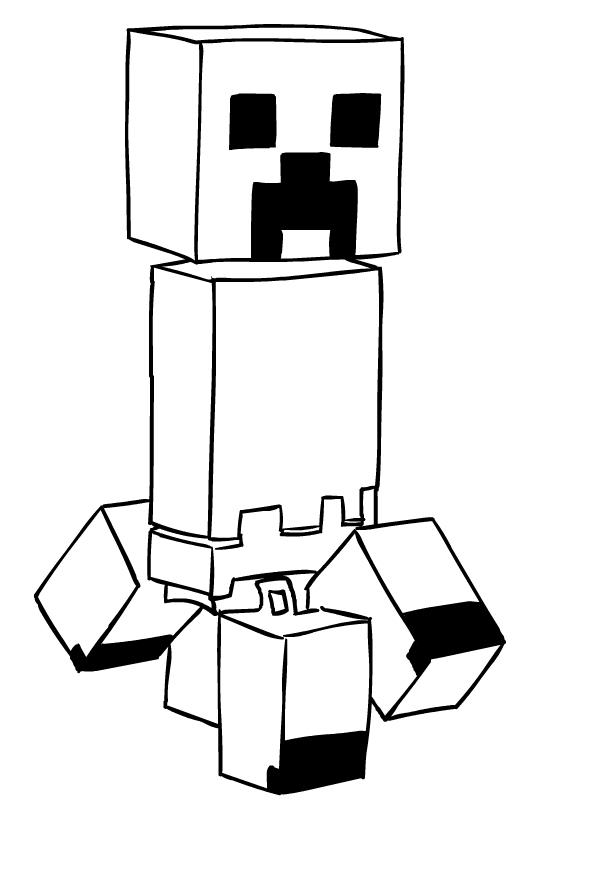 Coloriage De Creeper Di Minecraft