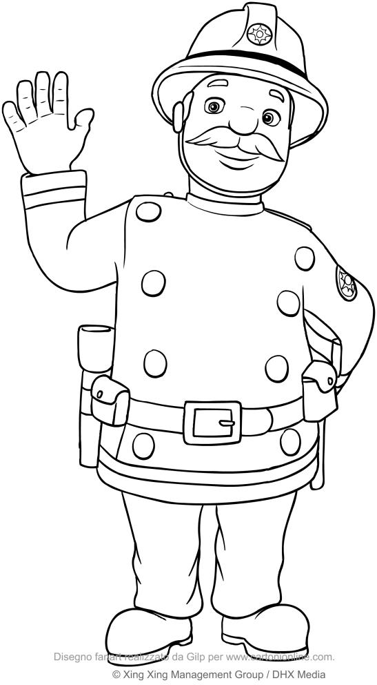 Coloriage De Capitaine Basil Steele Sam Le Pompier