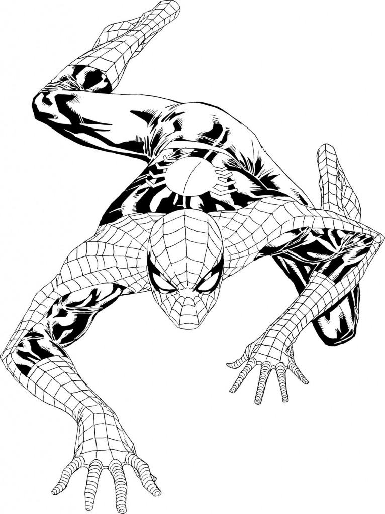 Coloriage de Spider-Man, qui grimpe sur le mur