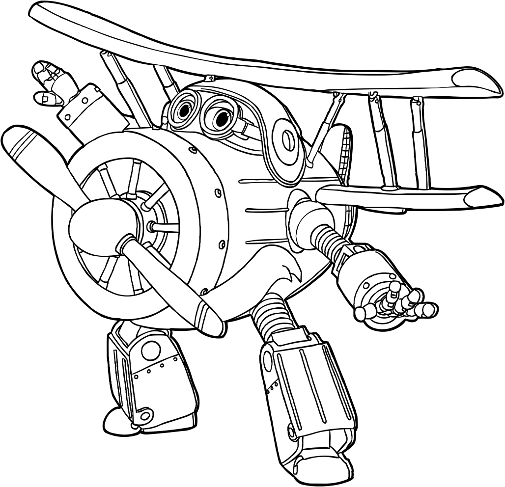 Les coloriages de Grand Albert des Super Wings es imprimer et colorier