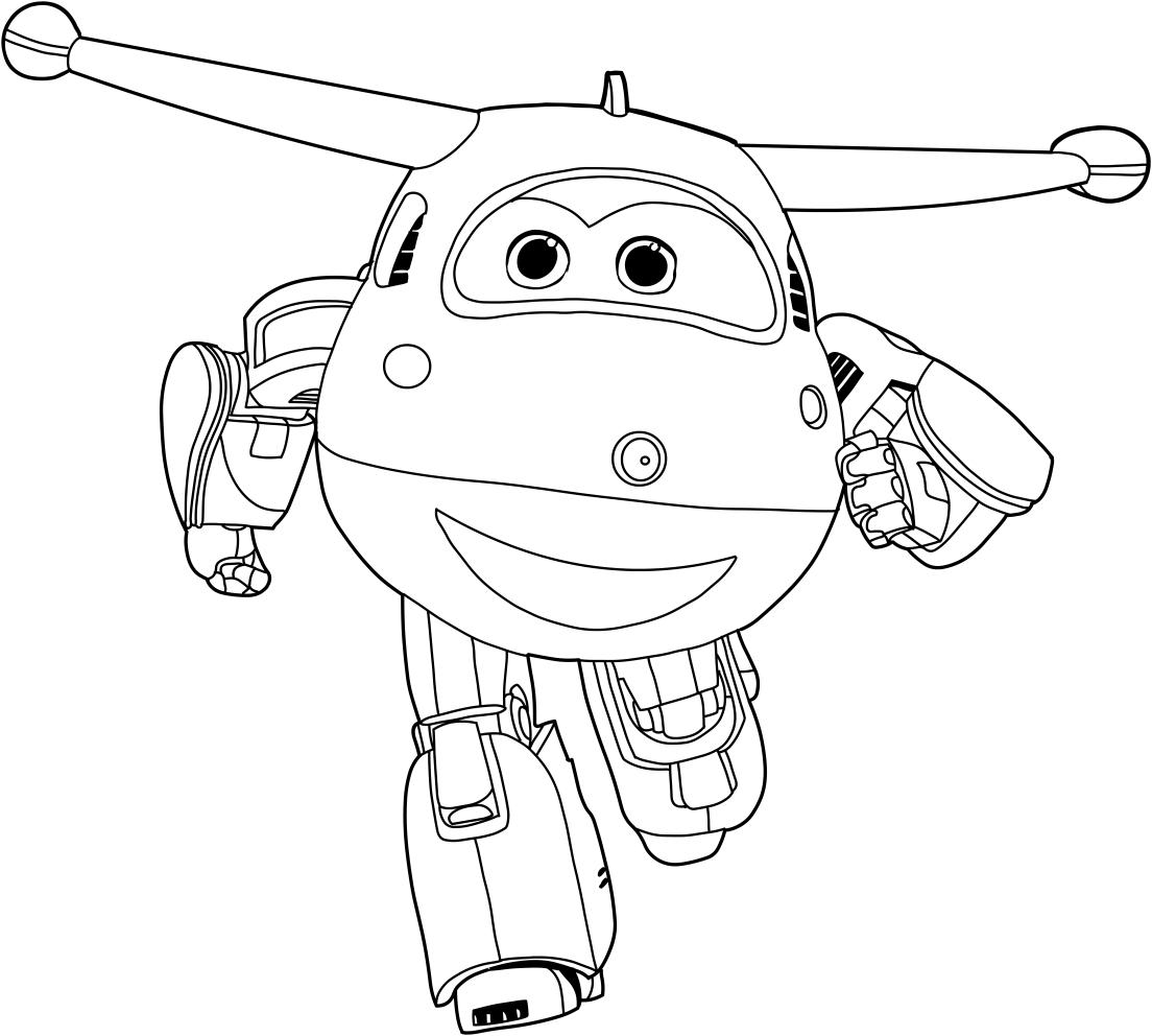 Les coloriages de Jett des Super Wings es imprimer et colorier