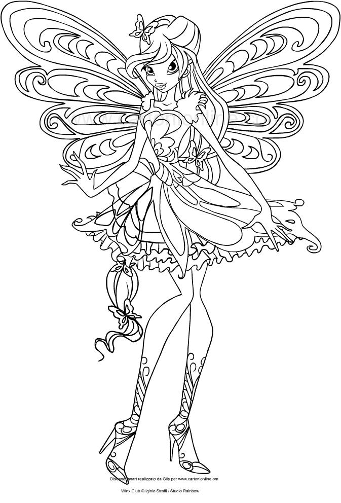 Les coloriages de Bloom Butterflix(Winx Club)はimprimer et colorier