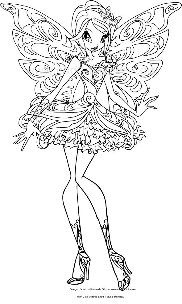 Les coloriages de Tecna Butterflix(Winx Club)はimprimer et colorier