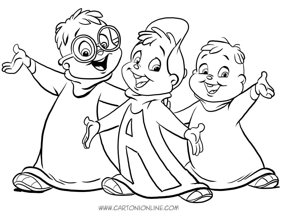 Dibujo de Alvin y las ardillas 만화 파라 imprimir y colorear