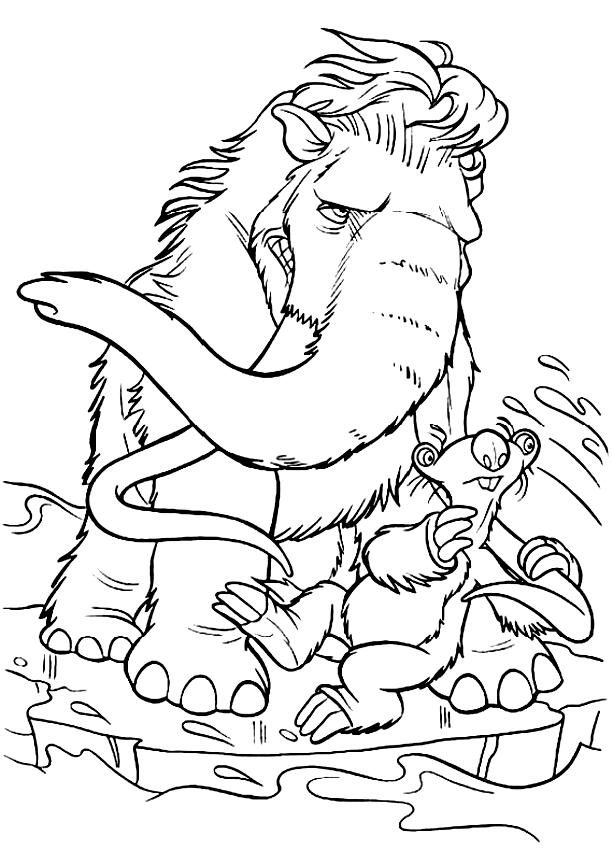 Dibujos De Manny El Mammoth De La Era De Hielo Para Colorear