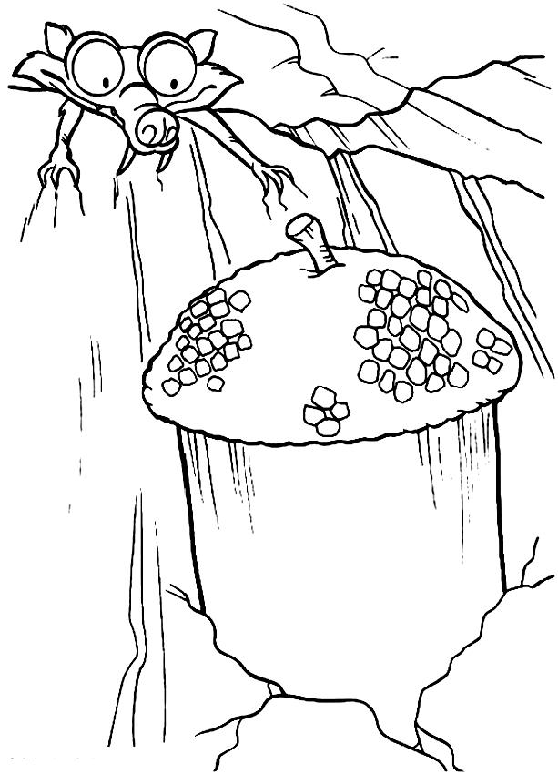 Dibujos De Scrat Y El Acorn De La Era De Hielo Para Colorear