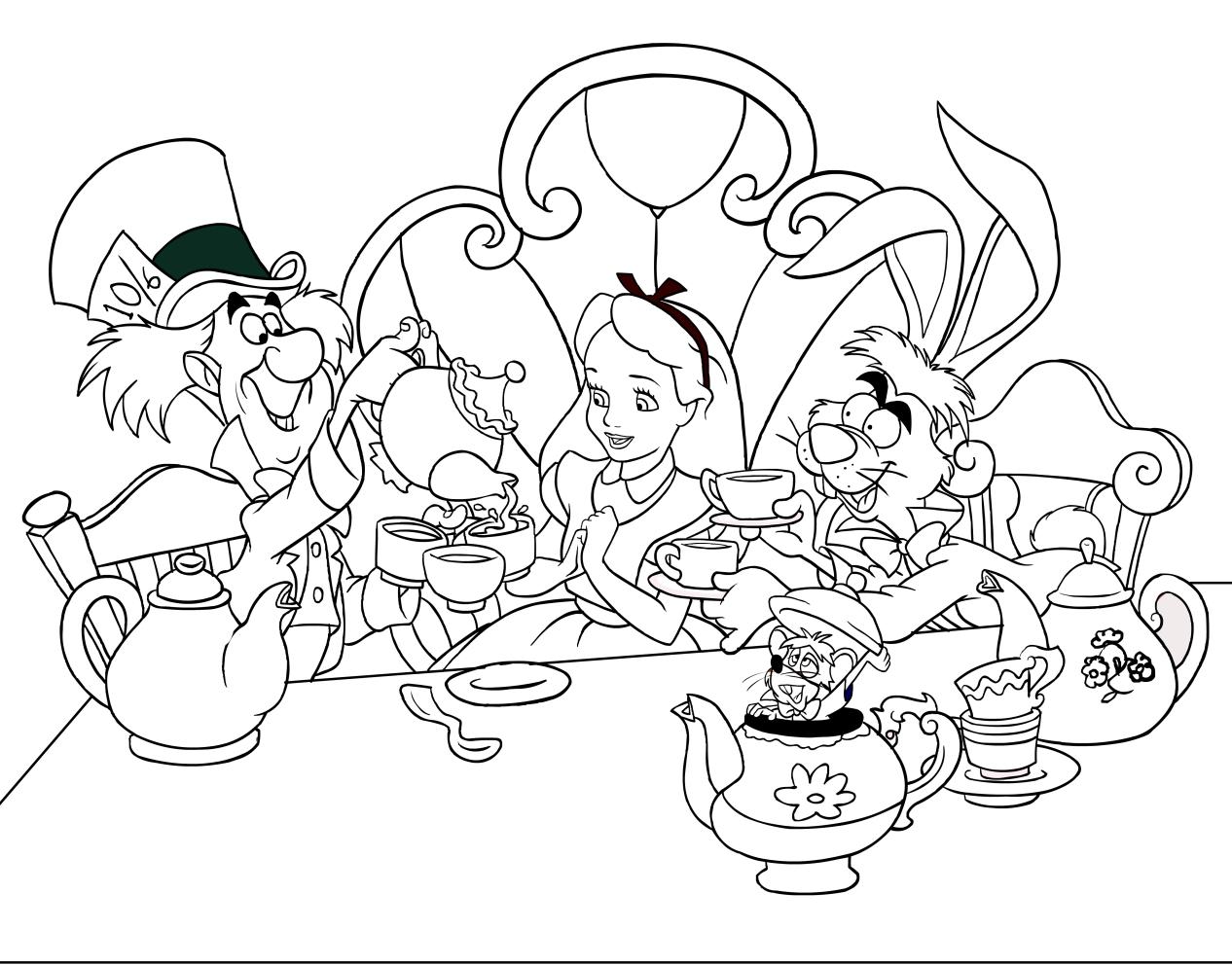 Dibujos Para Colorear Alicia 16: Dibujo De Alicia, El Sombrerero Loco Y Liebre De Marzo