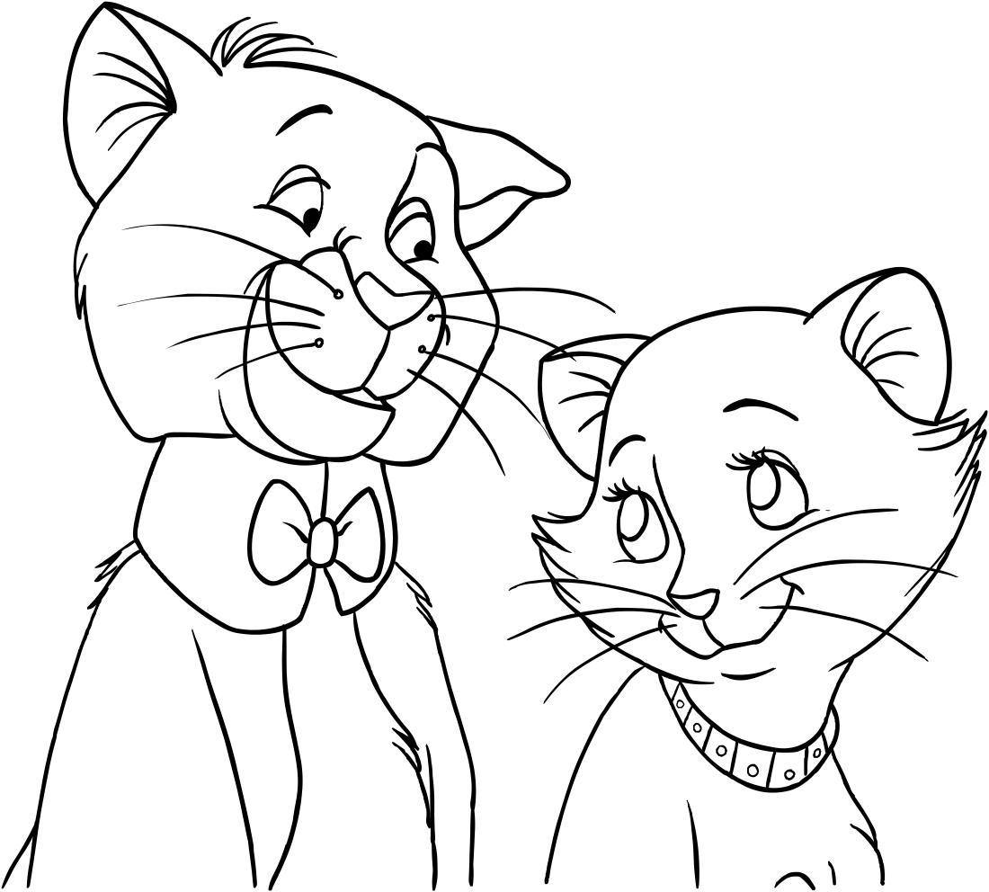 Dibujo de Thomas O\'Malley y Duquesa de los Aristogatos para colorear