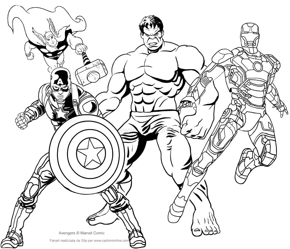 Dibujo de los Avengers para colorear
