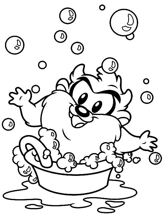 Dibujo de Bebé Taz que se lava (Baby Looney Tunes) para colorear