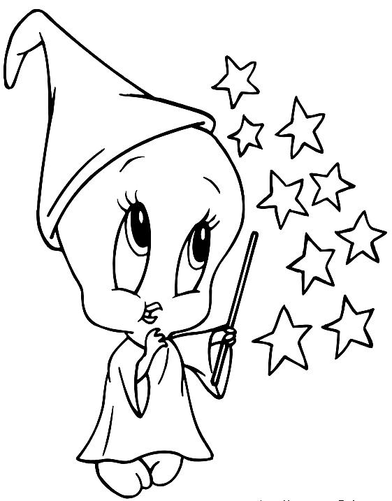 Dibujo de Bebé Piolin pequeño mago (Baby Looney Tunes) para colorear