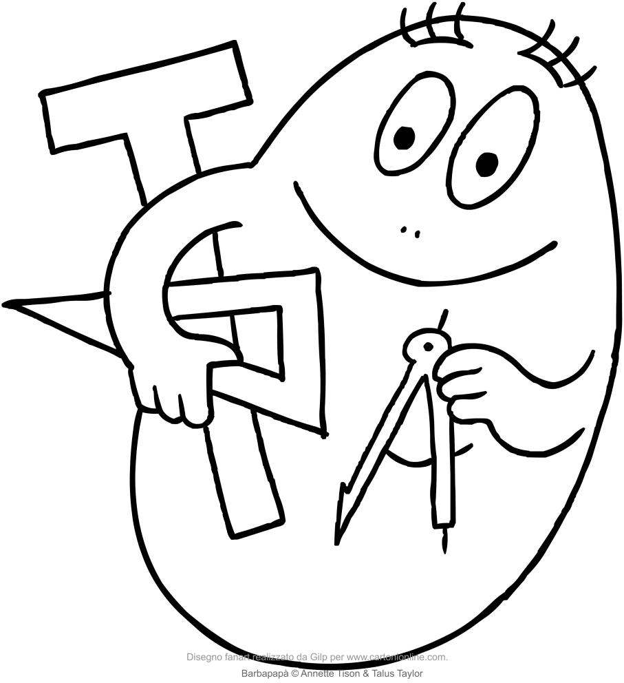 Dibujo de Barbabrillo el científico Barbapapa para colorear