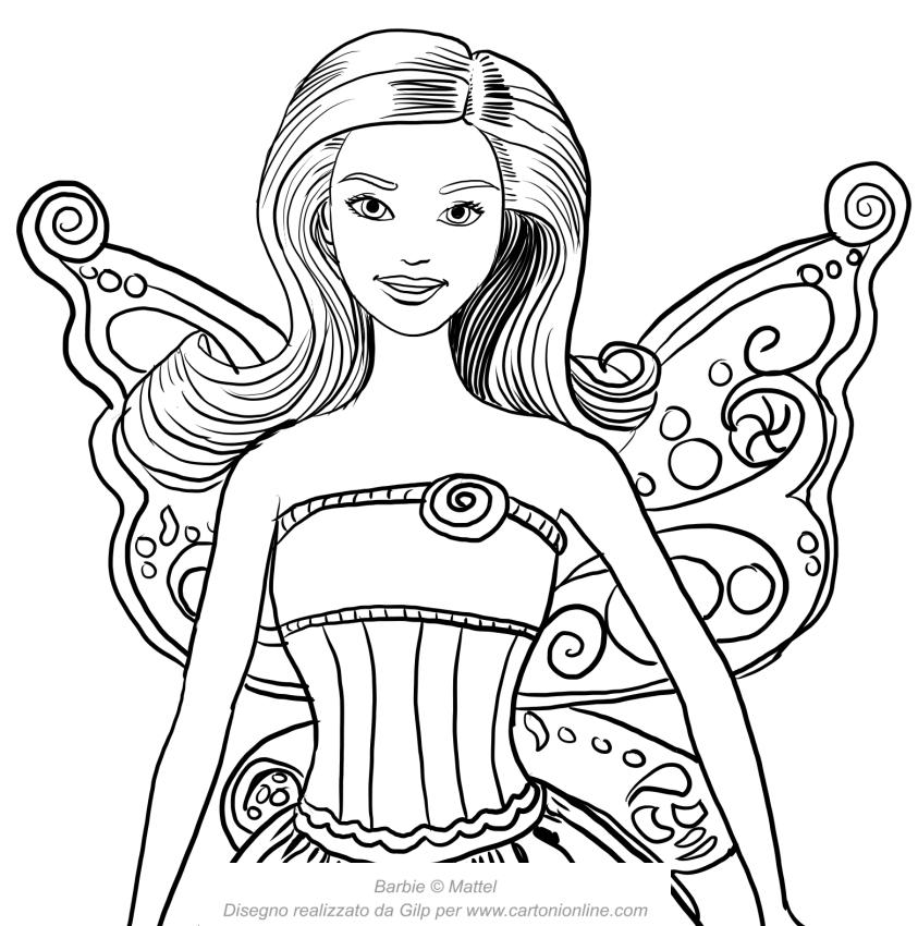 Dibujo de Barbie hada con la cara en primer plano para colorear