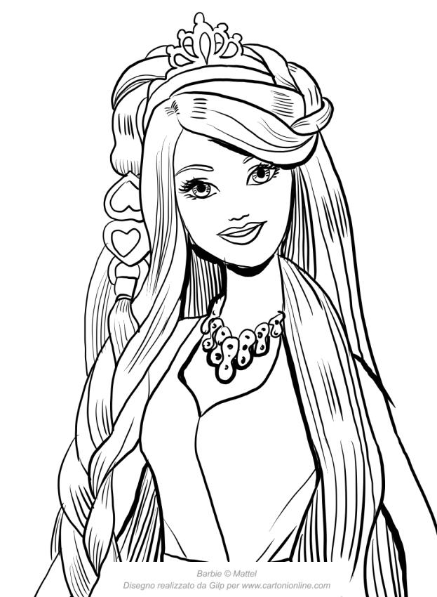 Dibujo de barbie cabello encantador con la cara en primer for Disegni da colorare barbie