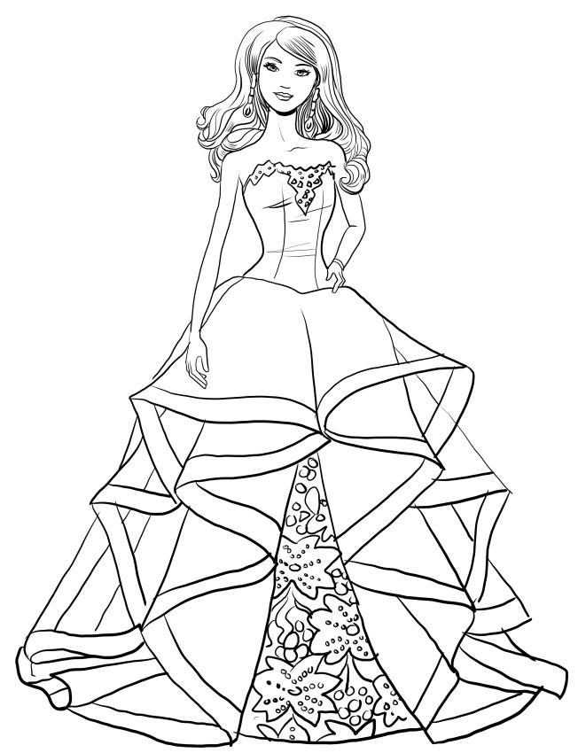 Dibujo de Barbie magia de las fiestas para colorear