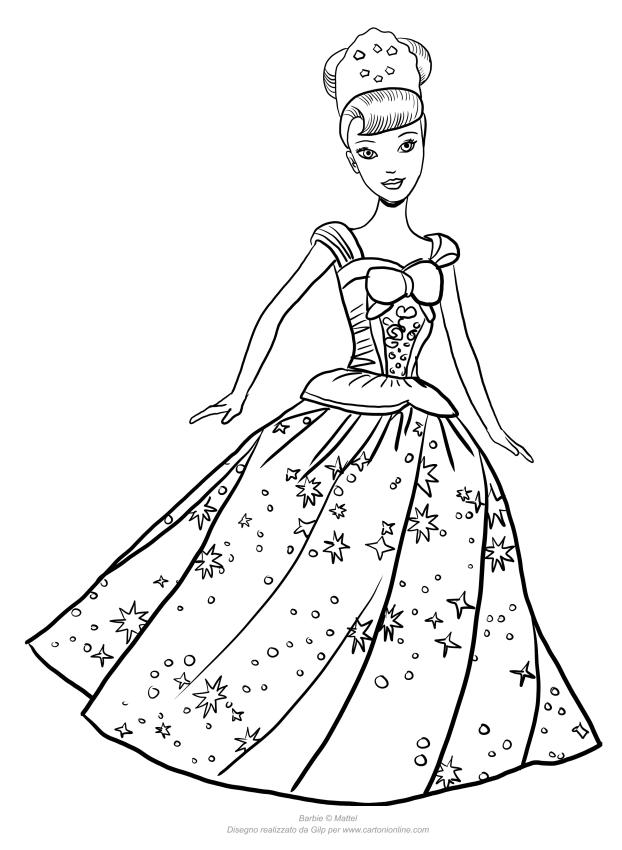 Dibujo de Barbie princesa balanceándose para colorear